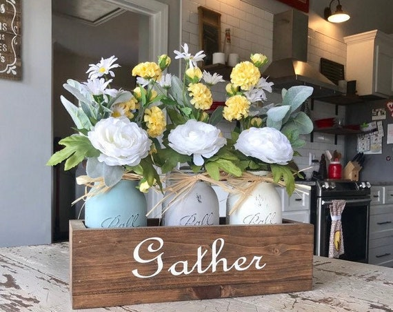 Rustic Decor, for a Farmhouse, Gather Wood Box, with Mason Jars, Filled with Daisies, Home Decor, Personalized Gift, New Home, Housewarming