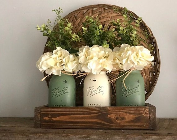 Hydrangeas and Greenery Mason Jar Decor Table Arrangement Boxwood Floral Centerpiece with Mason Jars Table Centerpiece Box Gift For Women
