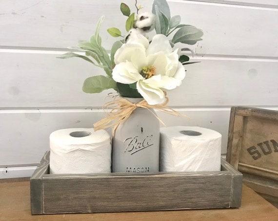 Gray Bathroom Toilet Paper Holder, Rustic Bathroom Decor, Rustic Tray Box For Toilet Paper, Storage Tray for Toilet Paper, Bath Storage Tray
