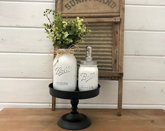 Mason Jar Bathroom Decor Tray Stand comes with Mason Jar Greenery & Soap Mason Jar pump for a Modern Farmhouse Decor Gift for Her New Home
