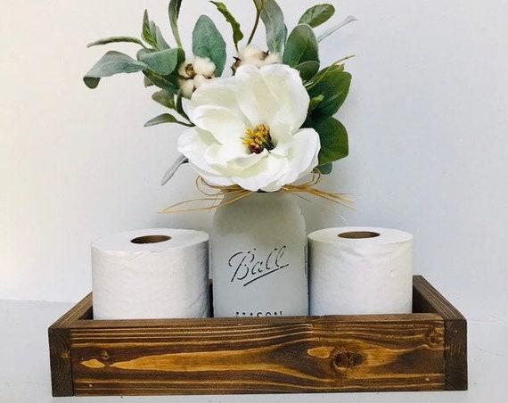 Bathroom Decor Toilet Paper Holder, Magnolia Flower Bath Set, Mason Jar Wood Tray, Bathroom  Organizer Wood Box, Toilet Paper Storage