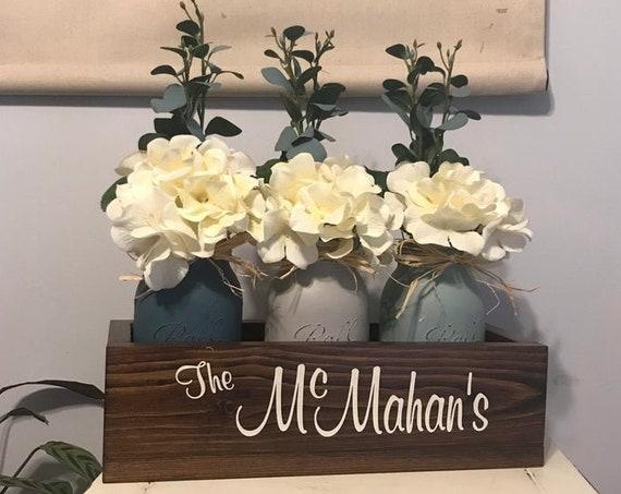 Custom Kitchen Island Decor Mason Jar Farmhouse Wood Tray Centerpiece Filled with Painted Mason Jars, Farmhouse Centerpiece, Mantle Decor