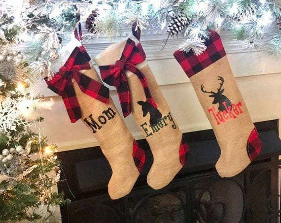 Christmas Stockings with Names Buffalo Check Stockings, Plaid Christmas Decorations, Personalized Christmas Gift, Family Set Stocking
