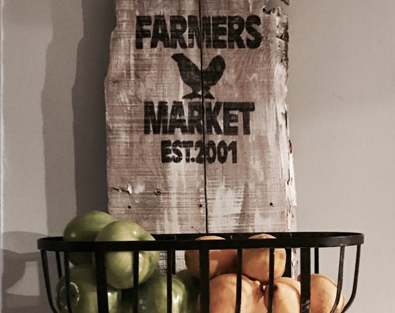 Farmhouse sign, Farmers Market Sign, Rustic Kitchen, Country kitchen, Custom Farmhouse, Produce baskets, Fruit Rack, Kitchen basket, Storage
