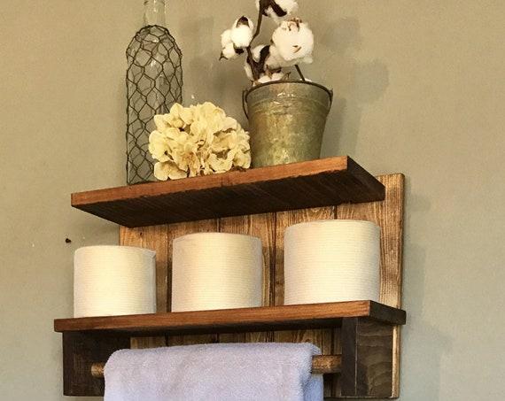 Bathroom shelf, Bathroom towel holder, Rustic towel Rack, Home Decor Bathroom, Towel Bar, Bathroom Towel Hanger