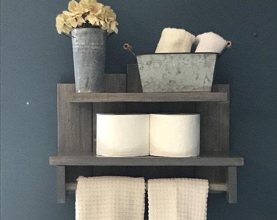 Towel Holder Bathroom Decor, Wood Shelves, Rustic Home Decor, Farmhouse Decor, Toilet Paper Holder, Bathroom Wall Decor