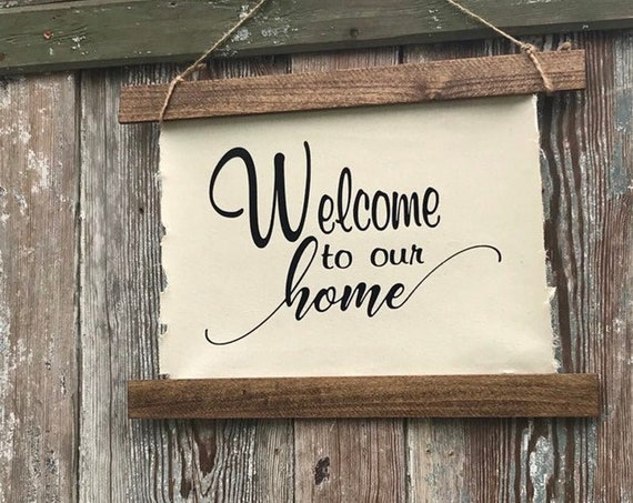 Welcome Sign to Our Home Wall, Welcome Sign, Rustic Wall Decor Sign, Wood Sign Welcome For Wall Hanging Wedding Gift