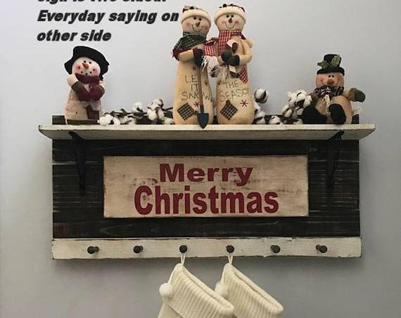 Personalized Holiday Decor Stocking Holder for Entryway Organizer, Farmhouse Coat Rack Hooks, Wedding Gift, Housewarming Gift