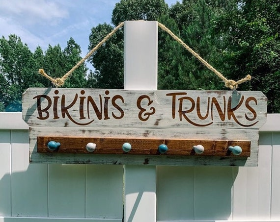 Bikinis Sign Pool & Beach Towel Hooks with Wording, Pool Towel Hooks, Rack for Beach Towels, Pool Towel Hanger for Wall, New Pool Owner Gift
