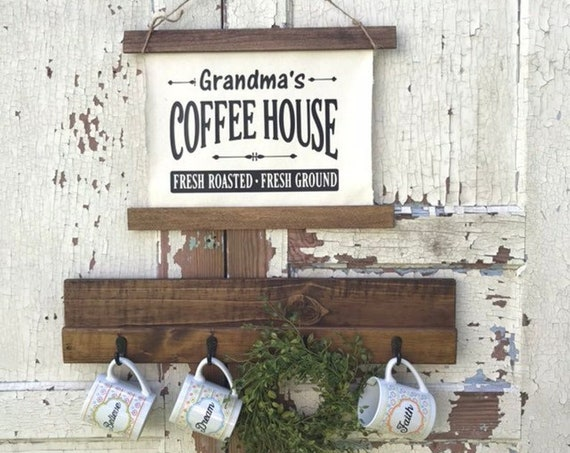 Coffee Bar Sign with Hooks for a Rustic Kitchen Decor Personalized Christmas Gift For Her