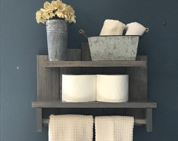 Country Decor Farmhouse Shelves Rustic Bath Decor Toilet Paper Storage Bathroom Wall Decor Storage
