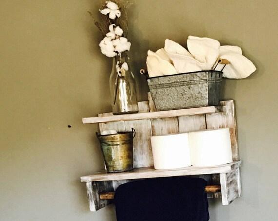 Bathroom Decoration for Wall, Beach House Decor, White Wood Shelf
