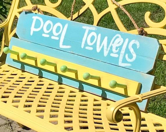 Home Decor Towel Rack, Outdoor Decor, Home Decor Farmhouse, Towel Rack for Pool, Home Decor Signs, Towel Rack beach house, Pool Signs,