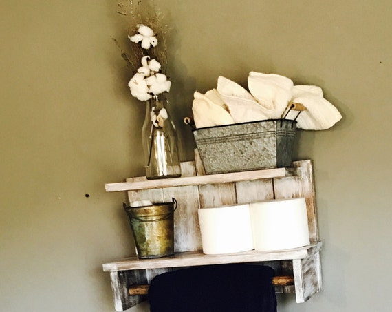 Rustic bathroom storage, Rustic Wooden Shelf, Rustic Farmhouse decor, Country decor, Rustic bath decor, Rustic distressed shelf