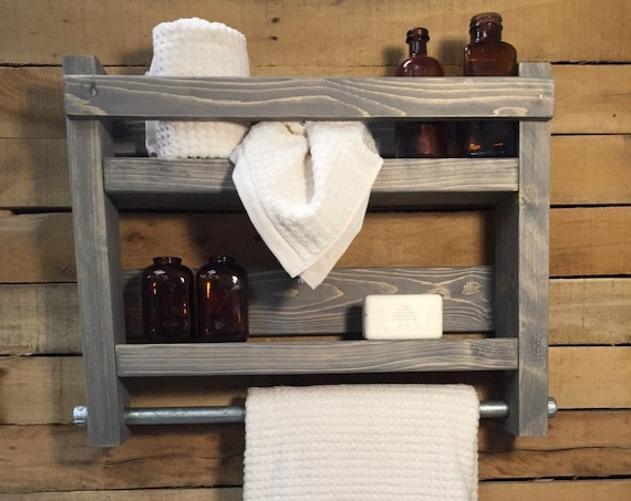 Bathroom Shelves and Organizer, Rustic Bathroom Shelf, Wood Wall Shelf, Wall Hanging Storage, Wood Shelf with Towel Bar