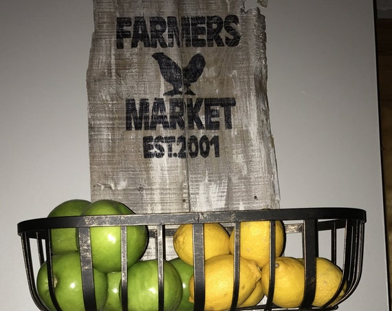 Storage Basket, Storage Bin, Kitchen Storage, Fruit Basket, Kitchen Sign, Farmhouse Storage, Rustic Storage, Farmers Market Sign, Bread