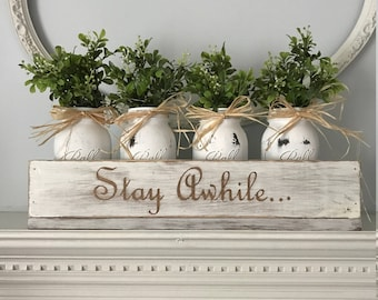 Lovely Home Decor Centerpiece, Rustic Home Decor Centerpiece For Table, Mason Jar  Centerpiece, Rustic Centerpiece, Centerpieces For Wedding