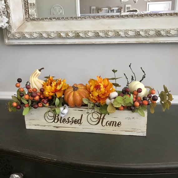 Rustic Table Fall Centerpiece, Fall floral Arrangement Centerpiece, Housewarming Gift, Table Centerpiece for Thanksgiving, Fall Home Decor