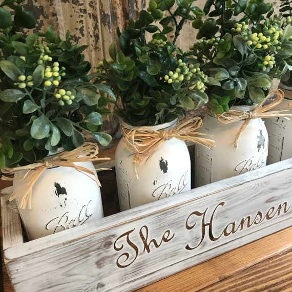 Home Decor Rustic Living Room Floral Arrangement Rustic Country Home Table Decor Mason Jars Boxwood Personalized Wood Box with Family Name
