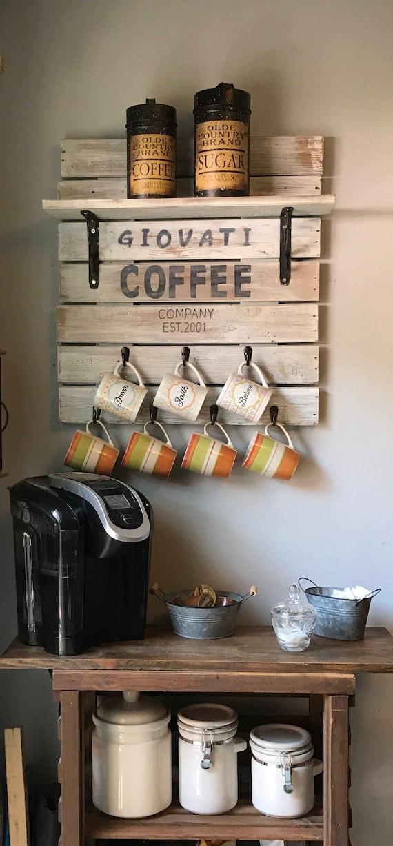 Kitchen Decor Coffee Bar, Coffee Mug Rack, Country Decor, Country Home  Decor, Country Kitchen Decor, Coffee Sign For Kitchen