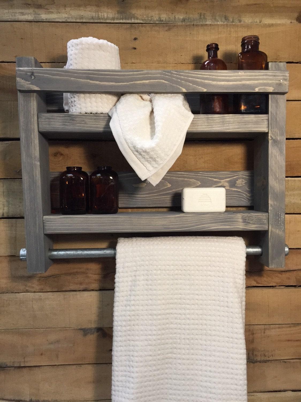Bathroom Towel Rack, Wood Towel Rack, Bathroom Shelf, Industrial ...