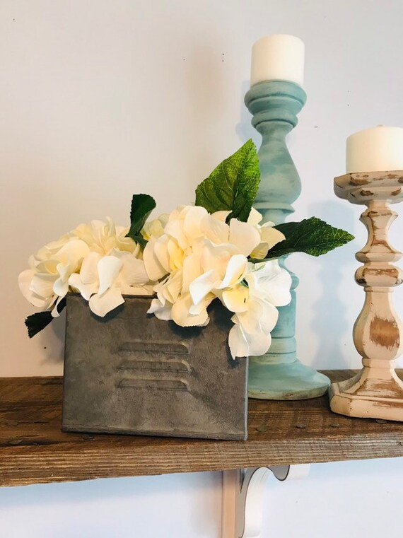 Planter with Hydranges, Hydrangea Flower Arrangement, Rustic Wedding, Mantel Decor