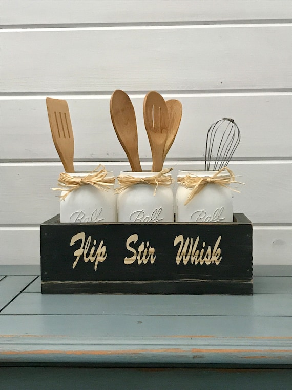 Kitchen storage for Utensils Wood Box with Distressed Painted Mason Jars, Rustic Kitchen Decor