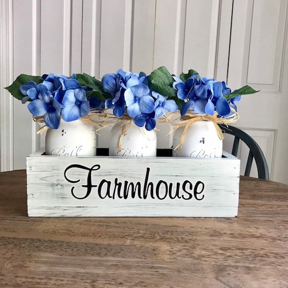 Dining Table Centerpiece, Rustic Home Decor, Farmhouse Centerpiece, Mason Jar Decor, Floral Arrangement, Bedroom decor