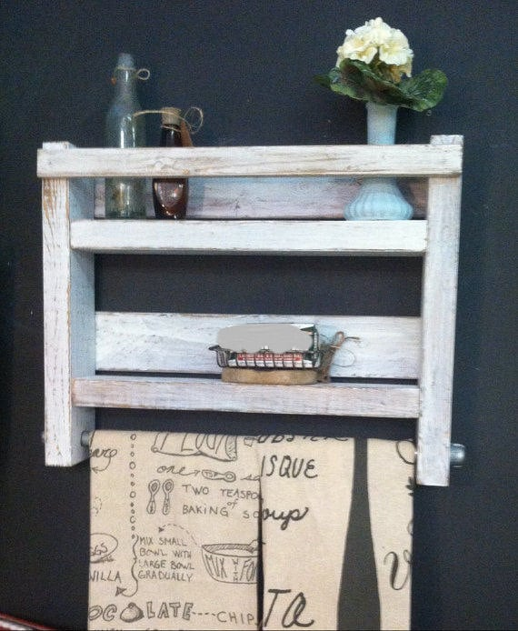 Bathroom Towel Rack, Wood Towel Rack, Bathroom Shelf, Industrial towel rack decor, Rustic distressed white, Farmhouse Rustic Shelf, Bathroom