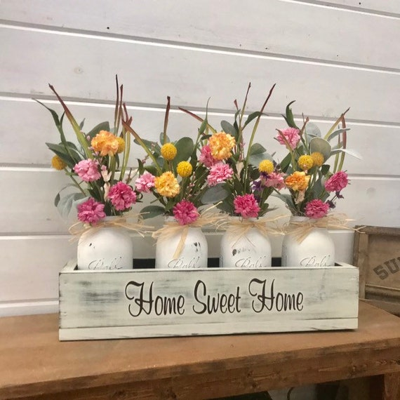 Farmhouse Floral Arrangement, Wood Planter Box with Flowers and Greenery, Living Room Decor, TV console Centerpiece, Entryway Decor