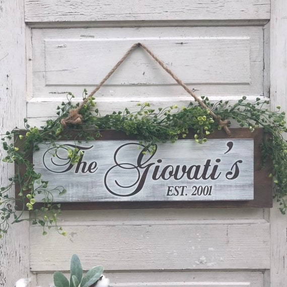 Personalized Family Sign Wood with Greenery With rope for New Home Housewarming Gift ideals Custom with Last Name Established Date