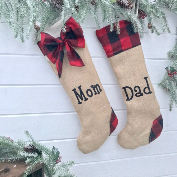 Christmas Stocking Set, Personalized Christmas Stocking Buffalo Plaid, Burlap Christmas Stockings, Christmas Decorations with Stocking Set
