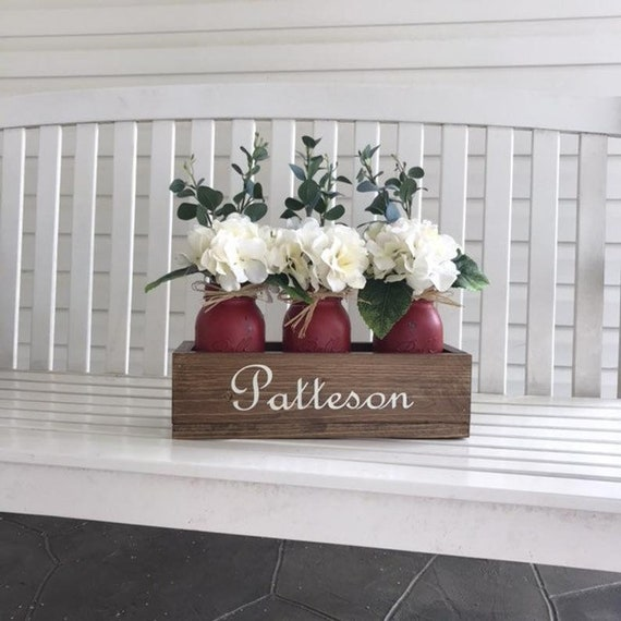 Personalized Centerpiece Rustic Home Decor Wood Box with Mason Jars Personalized with Family Name Table Centerpiece Personalized Wood Box
