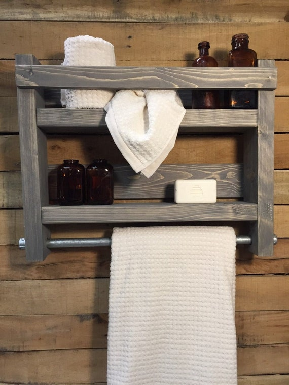 Lake House Decor Cabin Decor Bathroom Wood Shelves with Towel Hooks Or Kitchen Shelves Comes in many Stain Colors, Explore Now