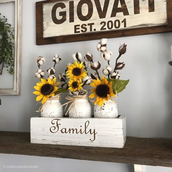Farmhouse Cotton Arrangement with Sunflowers, Personalized Housewarming Gift For New Home, Wood Personalized Box with Mason Jar Arrangement