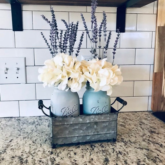 Hydrangeas in Painted Mason Jars with Metal tray / Gift For Her Birthday / Mason Jar Gift of Flowers / Farmhouse Home Decor Gift