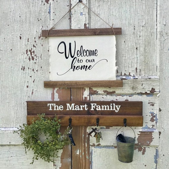 Welcome Sign Front Door Entryway Decor with Coat Rack or Key Hangers Family Name Sign Newly Wed Couple Gift