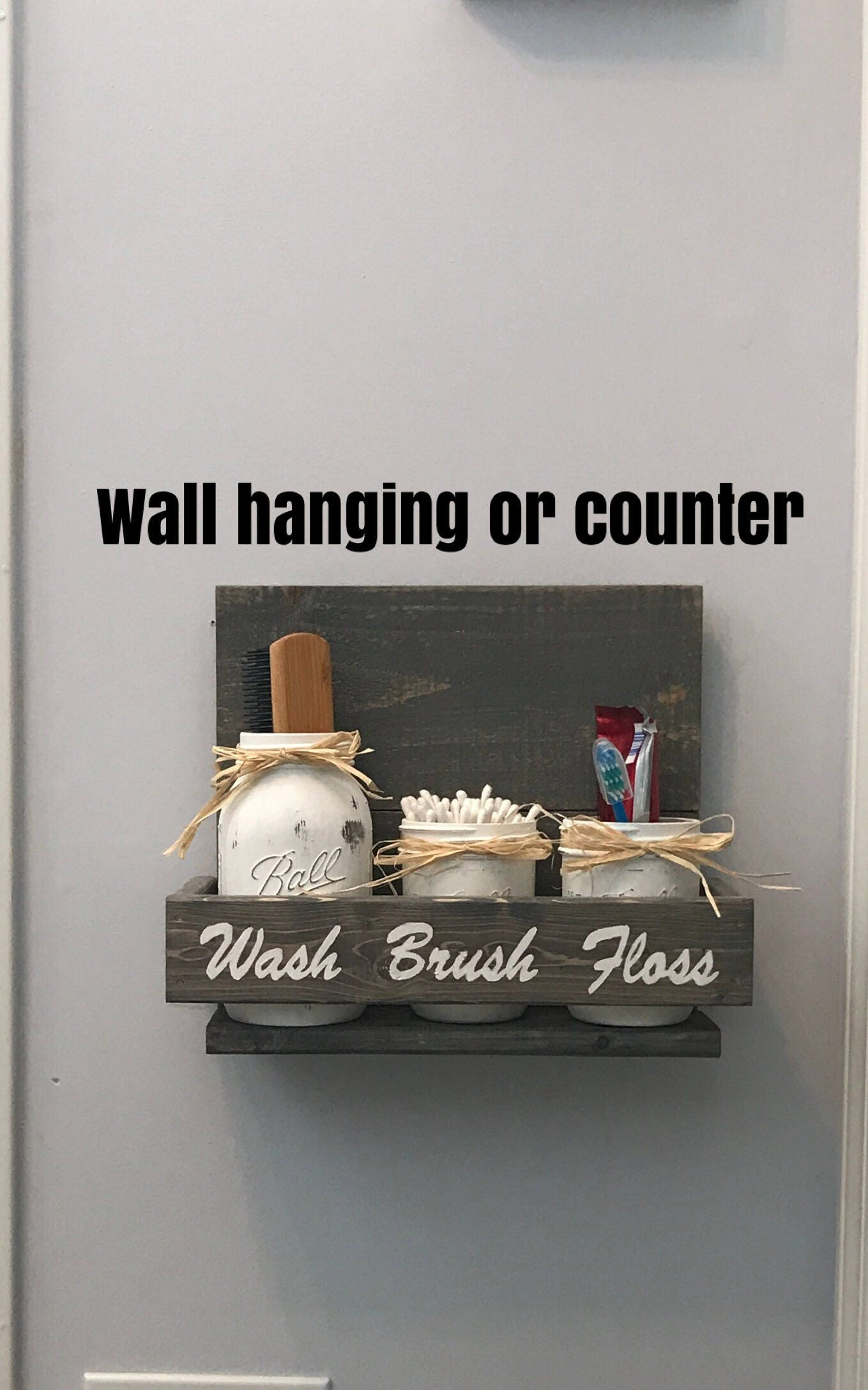 Gray Bathroom Decor Rustic Bathroom Set Mason Jar Decor