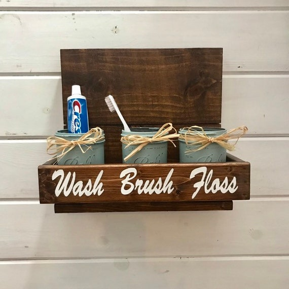 Mason Jar Bathroom Set with a Toothbrush Holder in a Wood Rack Housewarming gift Christmas gift More Stain Colors Pick Your Color Now