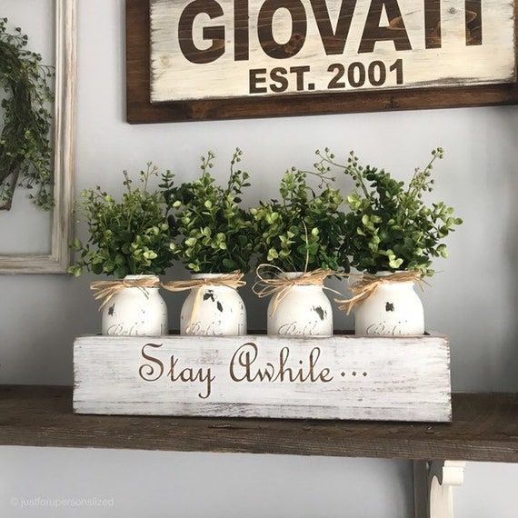 Farmhouse Planter Box Centerpiece with Greenery Floral Arrangements with Greenery Mantle Decor Rustic Home Decor Floral Arrangement