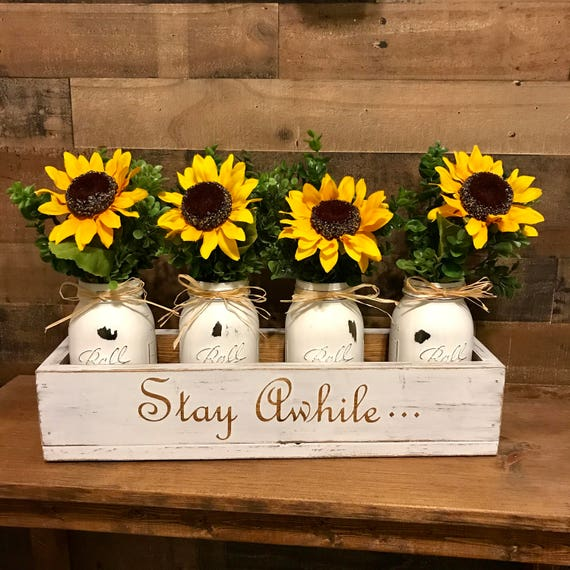 Mason Jar Sunflower Centerpiece, Mason Jar Centerpiece, Wood Box with Mason Jars, Farmhouse Table Centerpiece, Wood Box with Jars, Custom