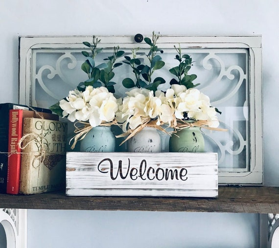 Farmhouse Shelf Decor, Floral Centerpiece, Personalized Wood Box, with Hydrangea filled, Painted Mason Jars, Personalized Home Decor