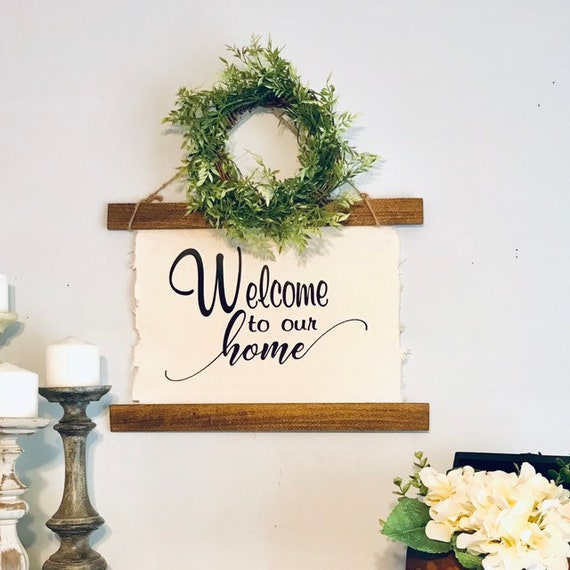 Home Sign and Wreath Farmhouse Living Room Decor Rustic Wall Decor Greenery Wreath Living Room Wall Sign Home Decor Gift