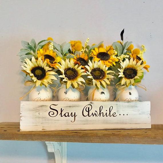 Fall Table Centerpiece Sunflower Arrangement, Mason Jar flower Arrangement, Sunflowers, Lamb Ears Floral Arrangement, Home Decor Flowers