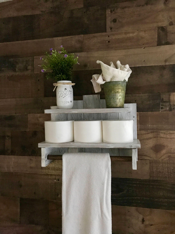 Wood Shelf Bathroom Decor Bathroom Towel Storage Farmhouse