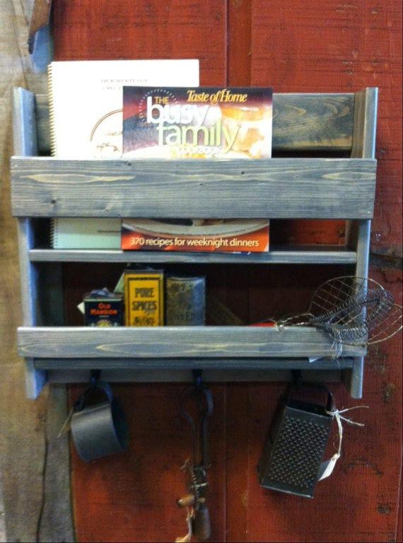 Farmhouse kitchen, Gray, Farmhouse kitchen rack, Rustic spice rack, Cook book rack, Gray spice rack, Kitchen decor, Rustic kitchen, Wood