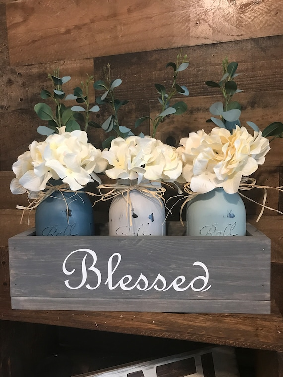 Table Centerpiece, Rustic Home Decor, Wedding Table Centerpiece, Mason Jar Centerpiece, Mason Jar Decoration box
