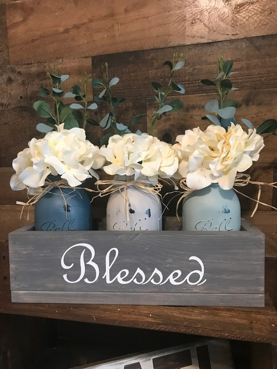 Farmhouse Style Flower Arrangement, Rustic Home Decor, Wedding Table Centerpiece, Mason Jar Centerpiece, Farm House Flower