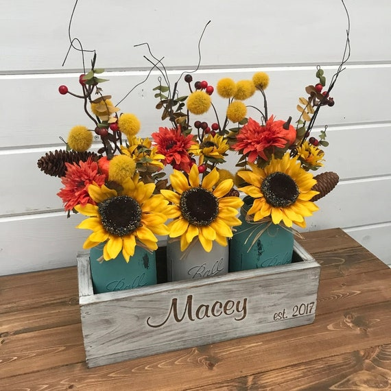 Rustic Home Decor Fall Centerpiece Painted Mason Jar Farmhouse Table Decor