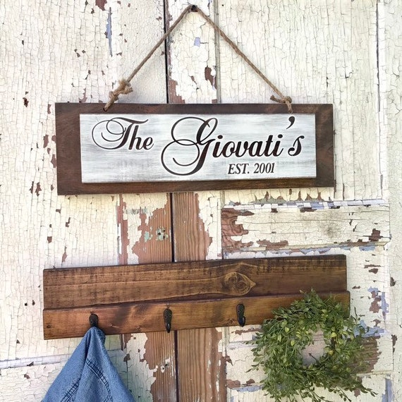 Wall Coat Rack, Family Name Signs, Custom Wooden Coat Rack, Entryway Coat Rack With Family Last Name Sign